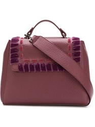 Orciani Ethnic Velvet Tote Pink And Purple
