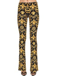 Versace Flared Print Stretch Jersey Pants Multicolor