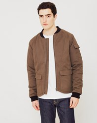 The Idle Man Padded Cotton Bomber Jacket Green