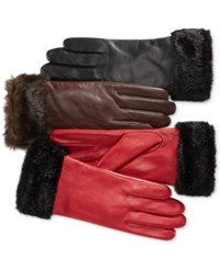 Charter Club Faux Fur Cuff Leather Tech Gloves Only At Macy's Java