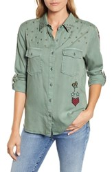 Billy T Embroidered Roll Tab Shirt Forest W Embroidery
