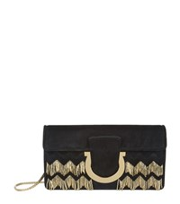Salvatore Ferragamo Thalia Beaded Suede Clutch Female Black