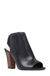 Nine West Women's Zofee Peep Toe Bootie Black Leather