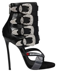 Dsquared 120Mm Multi Buckle Leather Sandal Boots Black