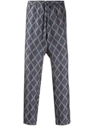 Pierre Louis Mascia Geometric Print Cropped Track Trousers Blue