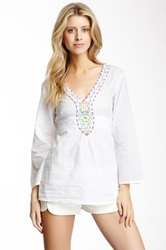 Chaudry V Neck Embroidered Tunic White