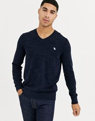 Abercrombie And Fitch Core Icon Logo V Neck Knit Jumper In Navy