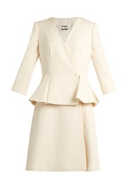 Alexander Mcqueen Peplum Waist Wool And Silk Blend Dress Ivory