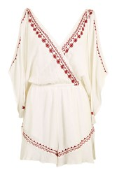 Band Of Gypsies Embroidered Flower Playsuit By White