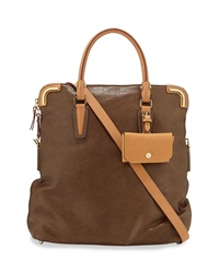Etienne Aigner Daily Distressed Leather Fold Over Tote Slate