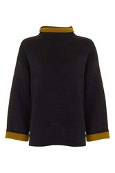 Topshop Double Faced Wide Sleeve Jumper Navy Blue
