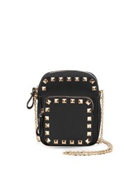 Valentino Rockstud Leather Zip Pouch W Strap Black