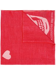 Alexander Mcqueen Skull And Heart Print Scarf Red