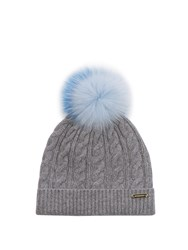 Burberry Fur Pompom Wool And Cashmere Blend Hat Grey
