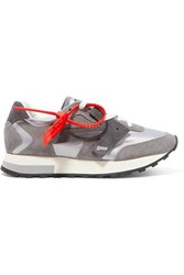 Off White Hg Runner Suede And Shell Sneakers Gray