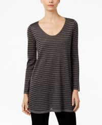 Eileen Fisher Striped Scoop Neck Tunic Ash Charcoal