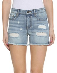 Vigoss Frayed Hem Denim Shorts Light Wash