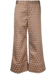 Irene Floral Jacquard Palazzo Pants Brown