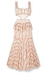 Brock Collection Cutout Ruffle Trimmed Printed Cotton Maxi Dress Pink