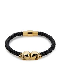 Northskull Twin Skull Leather Bracelet Unisex Black