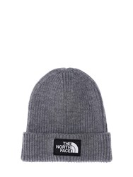 The North Face Logo Box Cuffed Acrylic Blend Beanie Dark Grey