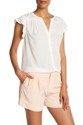 Joie Ruffle Cap Sleeve Silk Blouse White