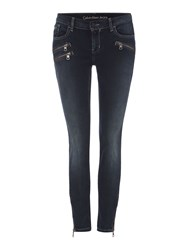Calvin Klein Rocker Ankle Skinny Jean In Sierra Blue Denim Dark Wash