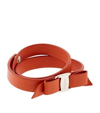 Salvatore Ferragamo Vara Leather Bow Wrap Bracelet Female Orange