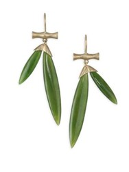 Annette Ferdinandsen Tropical Jade Bamboo Drop Earrings Yellow Gold
