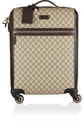 Gucci Gran Turismo Leather Trimmed Coated Canvas Travel Trolley Beige