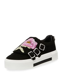Alexander Mcqueen Flower Embroidered Suede Monk Sneaker Black Multi Black Multicockta