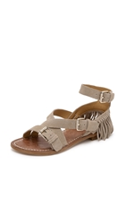 Belle By Sigerson Morrison Allegra Fringe Suede Sandals Light Tan