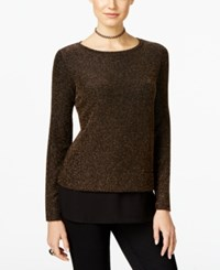Inc International Concepts Metallic Knit Top Only At Macy's Gold