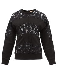 N 21 No. Floral Lace And Cotton Jersey Sweatshirt Black