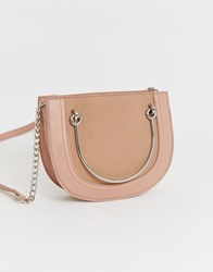 Warehouse Crossbody Bag With Metal Handle In Pink