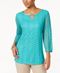 Jm Collection Crochet Lace Keyhole Top Only At Macy's Mermaid Green