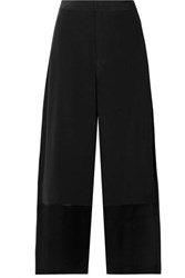 Co Cropped Satin Trimmed Crepe Wide Leg Pants Black