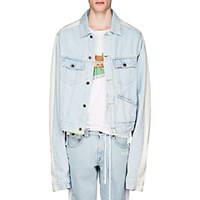 Off White C O Virgil Abloh Colorblocked Denim Trucker Jacket Lt. Blue