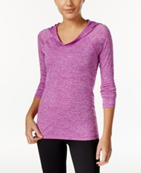 Ideology Rapidry Heathered Performance Hooded Top Only At Macy's Purple Cactus