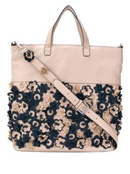 Tosca Blu Perforated Flower Tote Pink