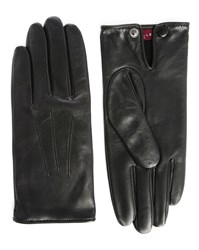 Agnelle Black Leather Slim Touchscreen Gloves With Wool Lining
