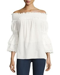 Max Studio Voile Off The Shoulder Blouse Ivory