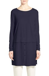 Eileen Fisher Women's Silk Ballet Neck Double Layer Tunic Midnight