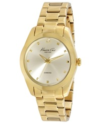 Kenneth Cole New York Watch Women's Diamond Accent Gold Ion Plated Stainless Steel Bracelet 39Mm Kc4949
