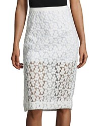 Milly Floral Embroidered Midi Skirt White