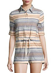 Solid And Striped Short Sleeve Jumpsuit Chambray Stripe