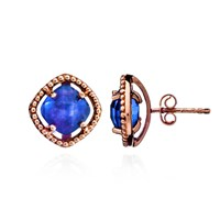 Azuni London Delphi Simple Stone Studs In Rose Gold And Iolite