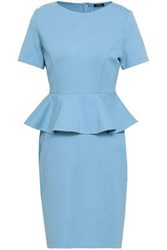 Raoul Stretch Ponte Peplum Dress Light Blue