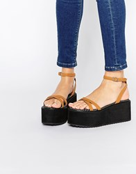 Asos Tip Top Barely There Flatform Sandals Tan Multi