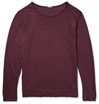 Massimo Alba Slub Linen T Shirt Red